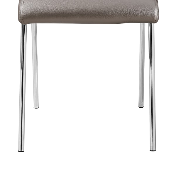 Metal Frame Dining Chair with Leatherette Seating,Set of 4,Brown and Silver