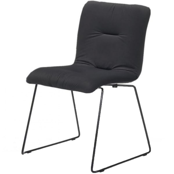 Fabric Tufted Metal Dining Chair with Sled Legs Support, Set of 2,Dark Gray