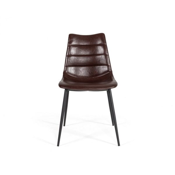 Leatherette Dining Chair with Horizontal Stitching, Set of 2, Brown