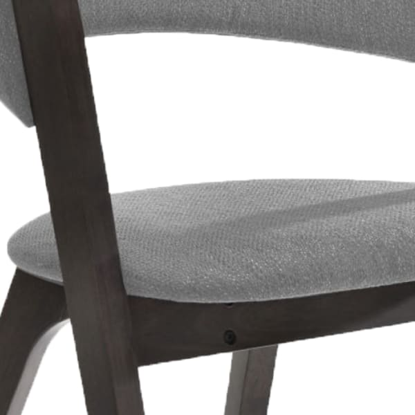 Wooden Dining Chair with Open Back Design, Set of 2, Gray and Black