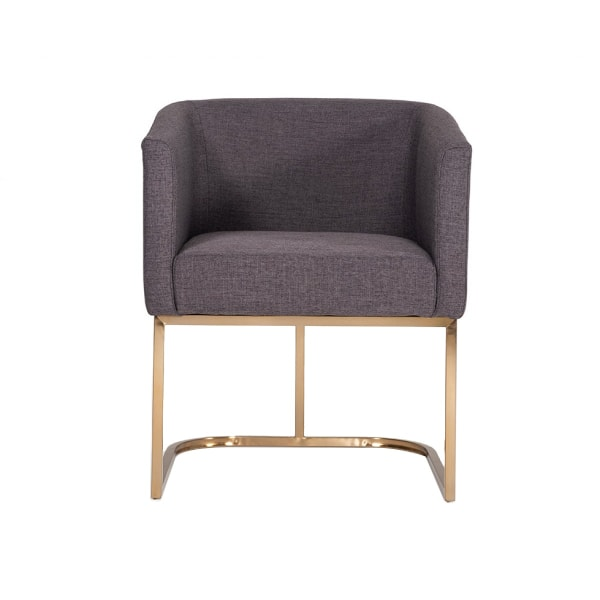 Fabric Upholstered Dining Chair with Round Cantilever Base, Gray