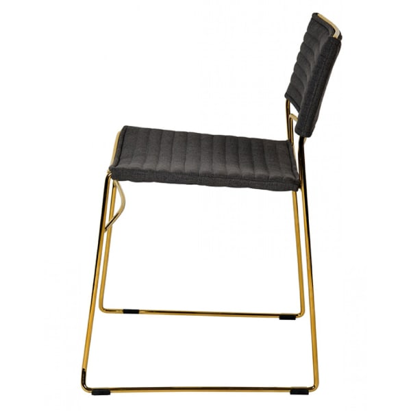 Ribbed Back Dining Chair and Metal Sled Base, Set of 2, Gray and Gold
