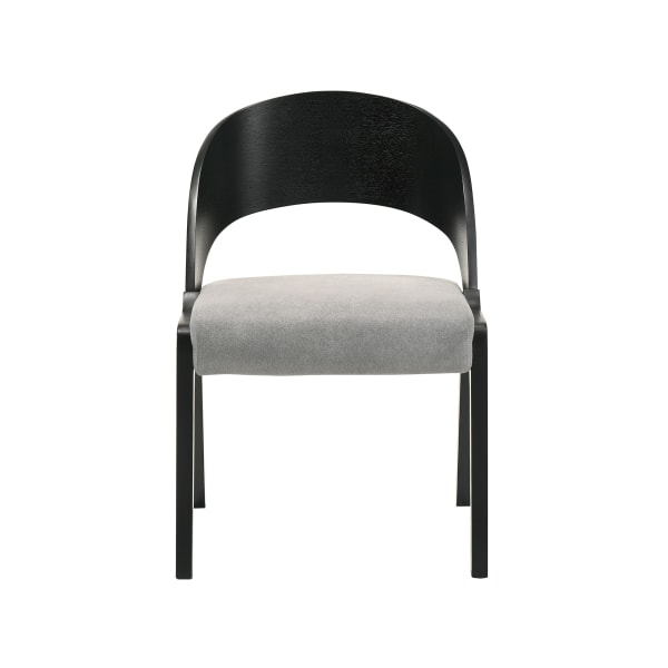 Mid Century Modern Curved Back Wood Dining Chair, Set of 2, Black and Gray