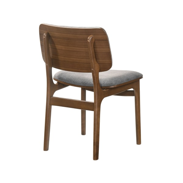 Fabric Upholstered Split Back Wooden Dining Chair, Set of 2,Brown and Gray