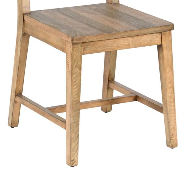 Reclaimed Wood Dining Chair with Tapered Legs, Distressed Brown