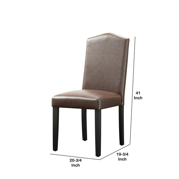 Transitional Leatherette Chair with Camelback Backrest, Set of 2, Brown
