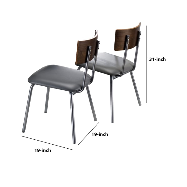Metal Frame Side Chair with Curved Backrest, Set of 2, Gray and Brown