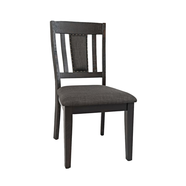 Chair with Fabric Padded Seat and Slatted Backrest, Set of 2, Gray