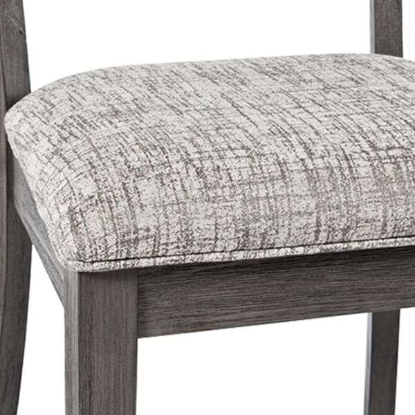 Wooden Chair with Cushioned Seat and Ladder Backrest, Set of 2, Light Gray