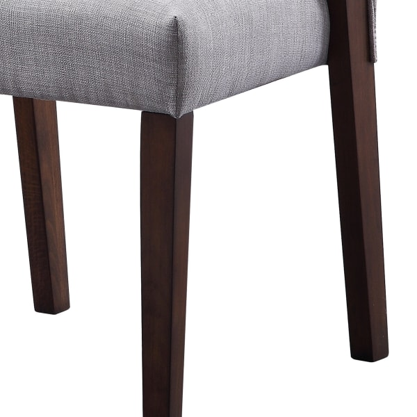 Wood and fabric Upholstered Dining Chairs, Set of 2, Gray and Brown