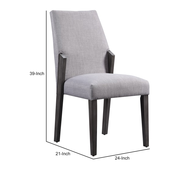 Wood and fabric Upholstered Dining Chairs, Set of 2, Gray and Black