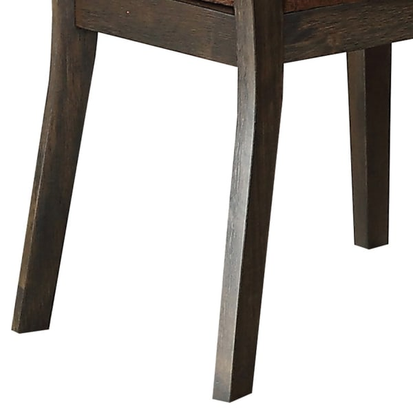 Wooden Side Chair with Cushioned Seat and Cut Out Back, Set of 2,Brown