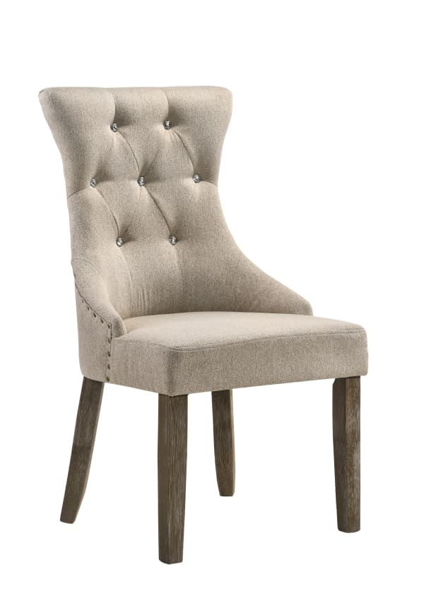 Wooden Chair with Fabric Upholstered Seating, Set of 2,Beige and Brown