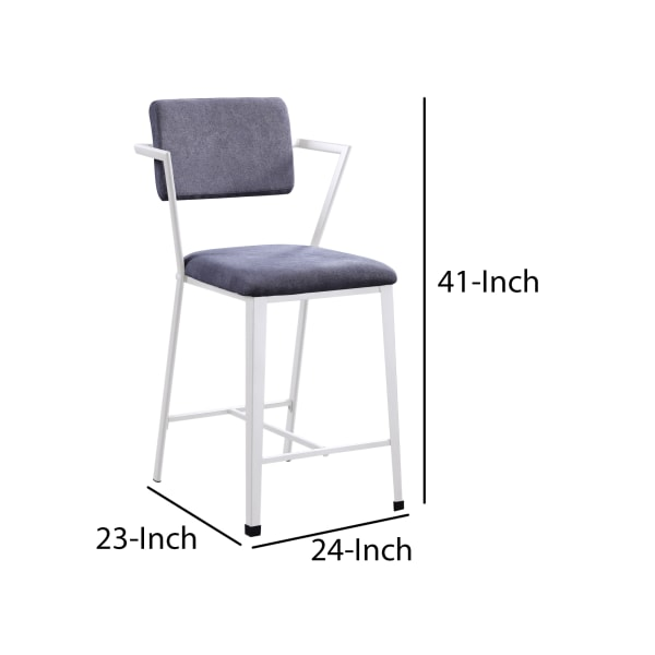 Industrial Style Metal Counter Height Chair, Set of 2, White and Gray