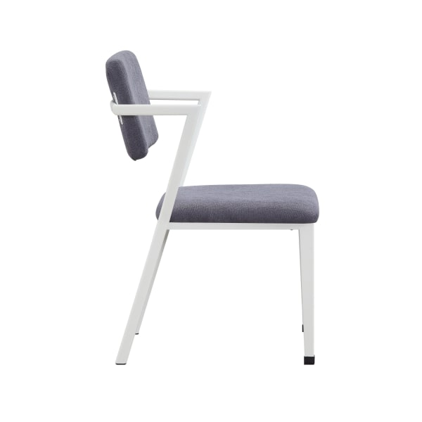 Fabric Upholstered Metal Dining Chair, Set of 2, White and Gray