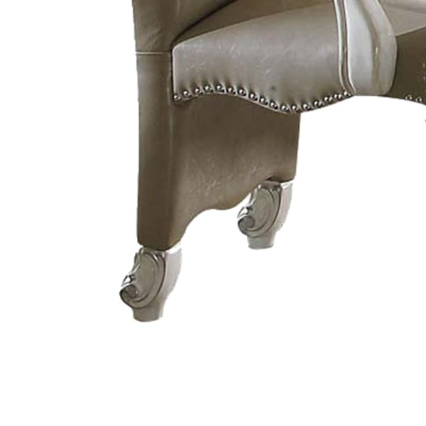 Faux Leather Upholstered Wooden Arm Chairs, Set of Two, White and Gray