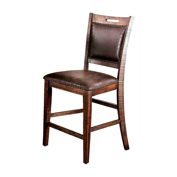 Wood and Faux leather Counter Height Dining Chairs, Set of 2, Brown