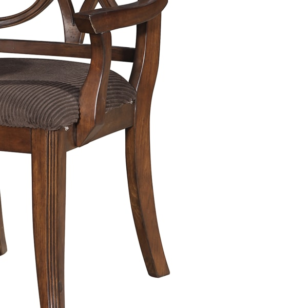 Wooden Arm Chair with Fabric Padded Seat and Lattice Design Backrest, Brown, Set of Two