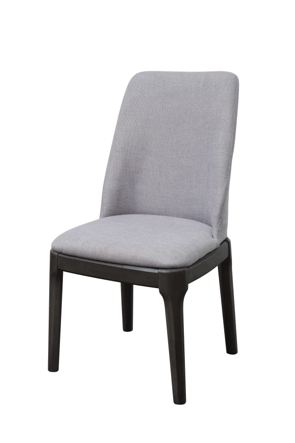 Linen Upholstered Wooden Side Chair with Curved Backrest and Block Legs, Set of 2, Gray