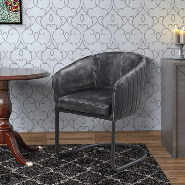 Vertically Stitched Faux Leather Upholstered Dining Chair with Metal Cantilever Base, Black