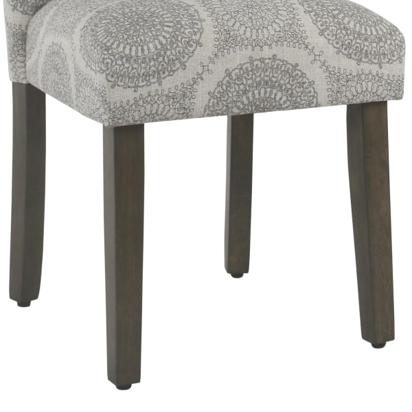 Medallion Pattern Fabric Upholstered Parsons Chair with Wooden Legs, Gray and Brown, Set of Two