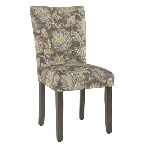Floral Print Fabric Upholstered Parsons Chair with Wooden Legs, Multicolor, Set of Two
