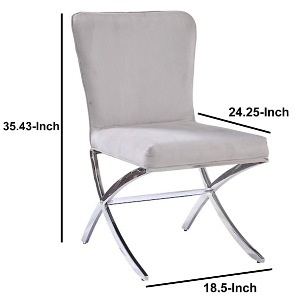 Velvet Upholstered Metal Side Chair with X Style Base, Light Gray and Silver, Set of Two