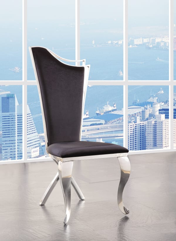 Fabric Upholstered Metal Side Chairs with Asymmetrical Backrest, Silver and Black, Set of Two