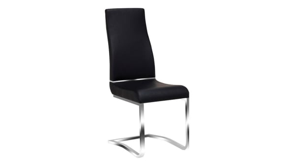 Leatherette Steel Chair with Ergonomically Designed Back, Set of Two, Black and Silver