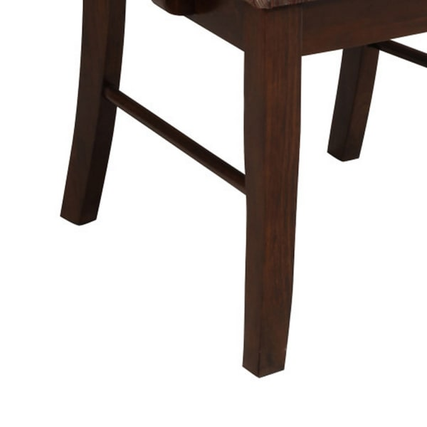 Wooden Frame Fabric Arm Chair, Set of 2, Brown