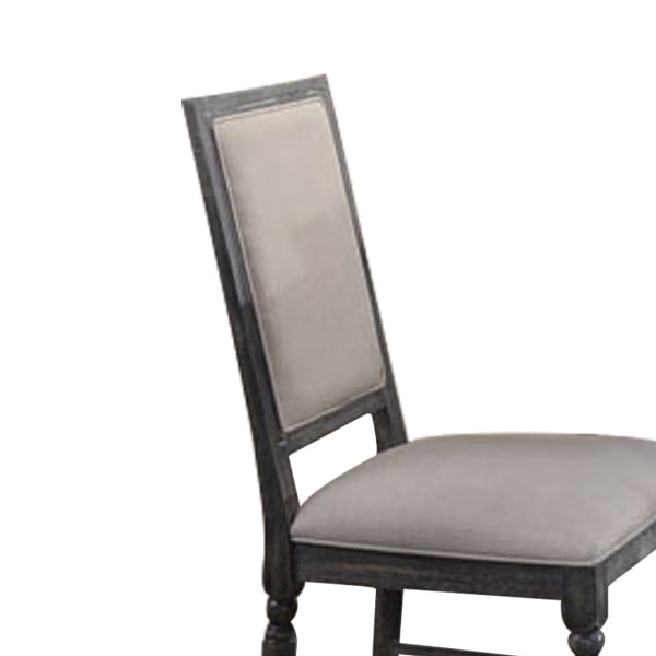Linen Upholstered Wooden Side Chair with Turned Legs, Gray, Set of Two