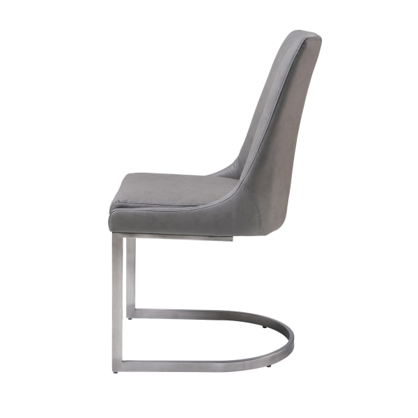 Leather Upholstered Chair with U Shaped Base, Chrome and Gray