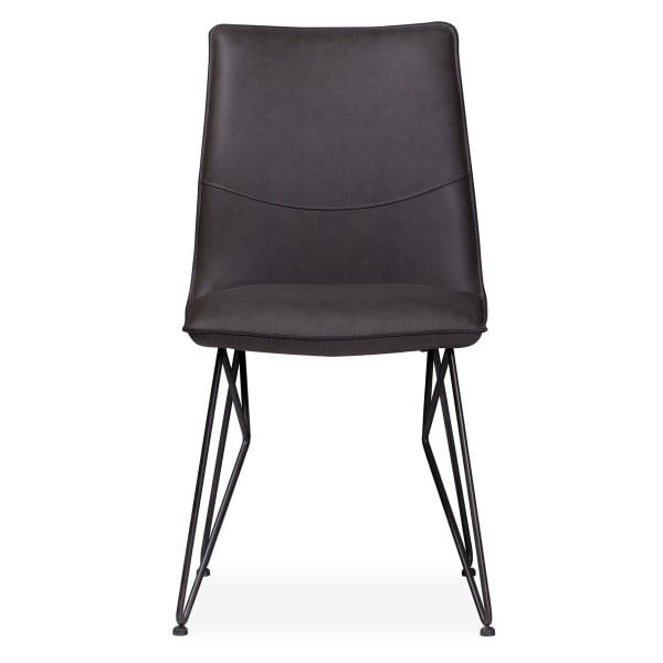 Leather Upholstered Metal Chair with Angle Hairpin Style Legs, Black and Gray
