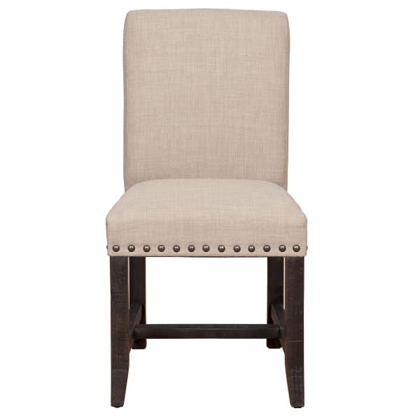 Fabric Upholstered Wooden Side Chair with Nail Head Trim Accents, Set of 2, Beige and Black