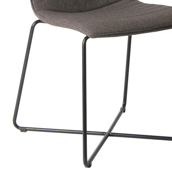 Fabric Upholstered Metal Chair with Cross Base Design, Set of 2, Gray and Black