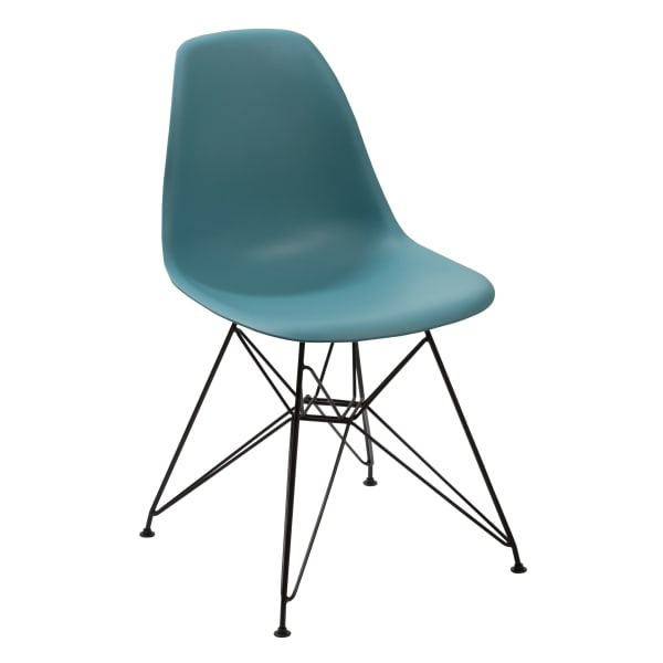 Deep Back Plastic Chair with Metal Eiffel Legs, Set of 2, Blue and Black