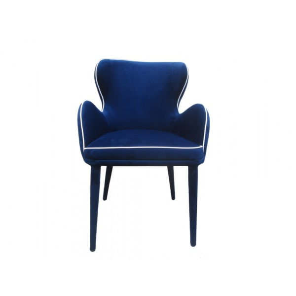 Fabric Upholstered Wing Back Design Dining Chair with High Curvy Arms, Blue