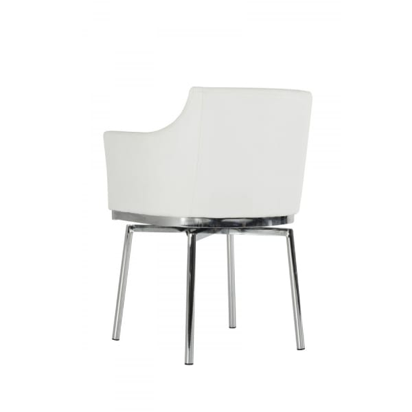 Leatherette Upholstered Swivel Dining Chair with Chrome Metal Legs, White