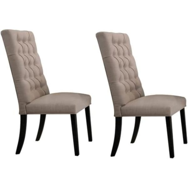 Wooden Dining Side Chair with Button Tufted Back, Set of 2, Tan Brown and Black