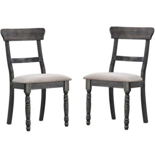 Wooden Side Chair with Turned Legs, Set of 2, Gray