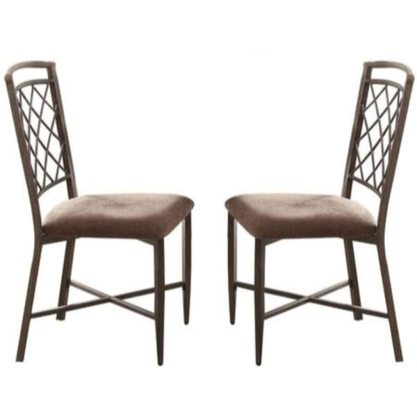 Metal Frame Side Chair with Fabric Upholstered Seat, Set of 2, Brown and Black