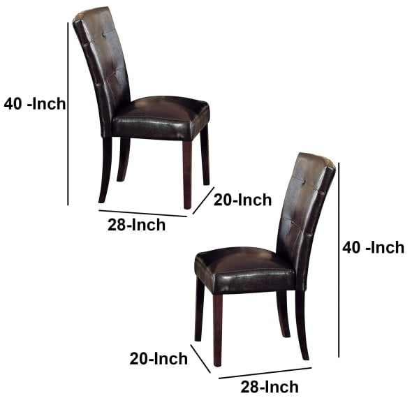 Button Tufted Polyurethane Upholstered Wooden Side Chair, Set of Two, Brown