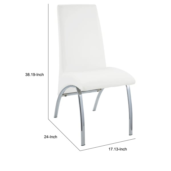 Polyurethane Upholstered Metal Side Chair, Set of Two, White and Silver