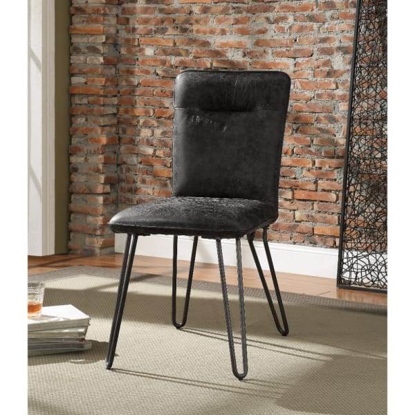Faux Leather Upholstered Metal Side Chair with Hairpin Legs, Set of Two, Black