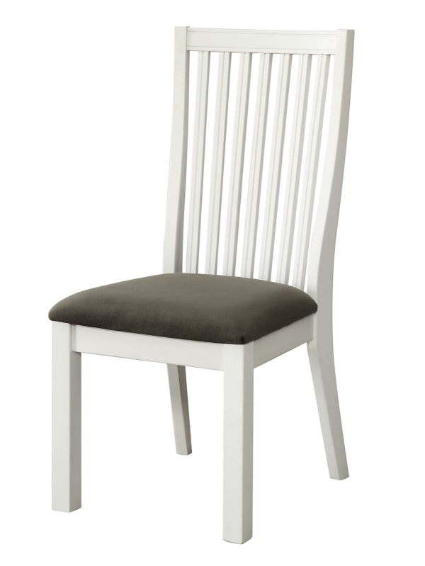 Wooden Side Chair With Gray Fabric Padded Seat, White, Pack Of Two