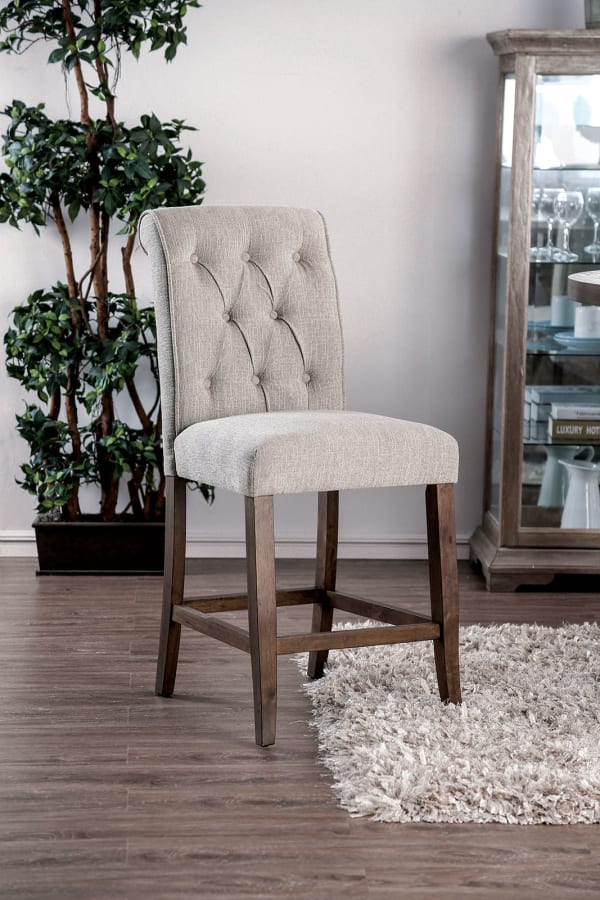 Wooden Fabric Upholstered Counter Height Chair, Cream And Brown, Pack Of Two