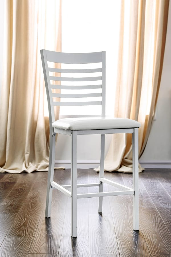 Metal Counter Height Chair With Cushioned Leatherette Seat, White, Pack of Two