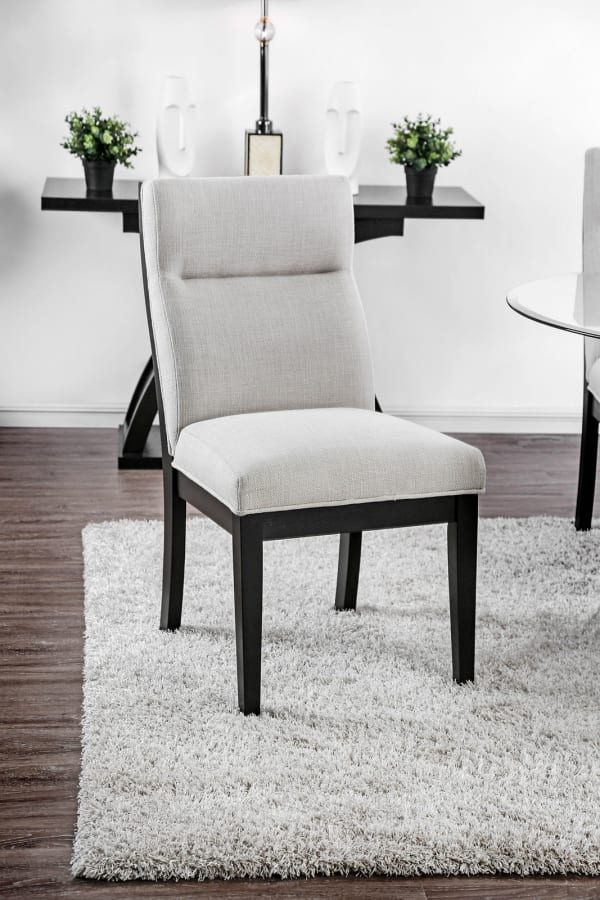 Wooden Side Chair With Fabric Upholstered, Black and Gray, Pack of Two
