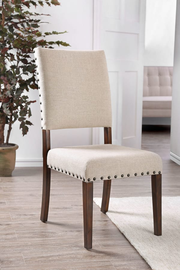 Fabric Upholstered Solid Wood Side Chair, Pack of Two, Beige and Brown