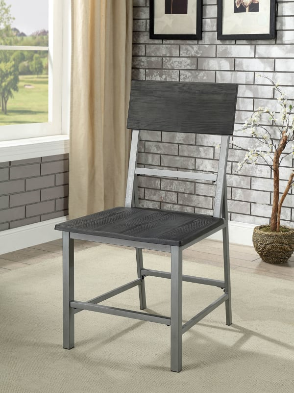 Wood and Metal Side Chair With Footrest, Pack of Two, Gray and Silver